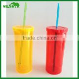 2016 Custom Items Double Wall Coke Cup Plastic Coffee Advertising Mug with Straw & Cap used on Beach