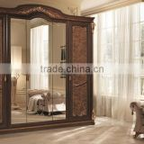 Solid Wood Golden Color Five Door Wardrobe/Luxury Italian Bedroom Furniture(MOQ=1 SET)
