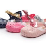 Shining side bow hook and loop type mini melissa jelly shoes