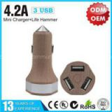 4.2A Wood Triple USB Car Charger with Life Hammer YLCC-235