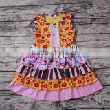 Yawoo wholesale sleeveless ruffle smocked dress baby girl frock cutting pictures