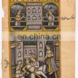 Indian Mughal Harem Scene Paper Miniature Painting Water Color Art Original Painting