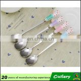 any color heart shape handle spoon for baby/ newborn baby silver color spoon with low price and high quality (HH-spoon-117)