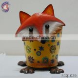 spring decoration fox statury shape metal stand flower pot sculpture
