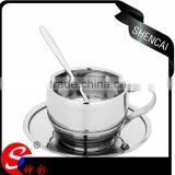 2016 elegant deisgn coffee tea dish+cup+spoon 3pcs set stainless steel coffee cup mug set