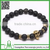 Cheap Stretch Men Lava Rock Gemstone Bracelets Bead Wrap Stone Charm Gold Skull Head Bracelet                                                                         Quality Choice