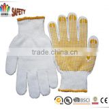 FTSAFETY yellow PVC dotted on palm cotton knit labor working gloves                                                                         Quality Choice