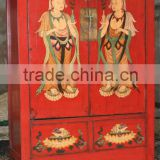 Chinese antique red wedding cabinet with painting