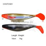 CHGTCS01 freshwater and saltwater swimbait shad lure paddle tail soft fishing lure for bass