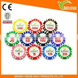 Plastic Pocker Chips 13.5g Clay customize sticker poker chip casino chip
