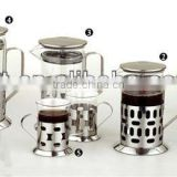 18/8 stainless steel coffee plunger with heat resistant glass