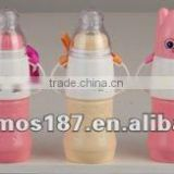 BPA Free baby milk feeding bottle with glass liner and soft handle