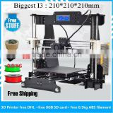 2016 hot sale top quality Acrylic Prusa i3 3D printer industrial fdm 3D printing machine for ABS PLA free PLA filament 8GB card