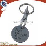 Custom soft enamel plating antique tin shopping trolley coin lock/metal trolly coin keyring/custom trolley coin keyring
