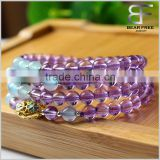 Yoga Meditation Natural AAAAA Grade Amethyst Blue Agate 108 Prayer Beads Natural Quartz Crystal Mala Wrap Bracelet Necklace