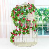 Hot sale China Factory Wholesale Artificial Ivy Vines Wedding Decorative Plastic Rose Ivy Hanging
