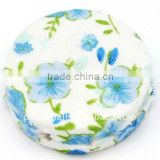 Woven Cloth Woven Beads, Acrylic with Cloth, SkyBlue, Flat Round, 33x11mm, hole: 3mm.(WOVE-R002-11)