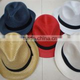 Cheap Promotional Hot Summer Sun Hat Panama Style Trilby Straw Fedora Hat                                                                         Quality Choice