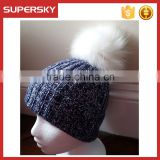 A-531 Wholesale fur pom plain knitted hat custom beanie with pom pom mixed yarn pom beanie hat