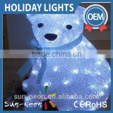 Outdoor Christmas Decoration LED White Bear Motif lights with Blue Bowknot
