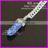 KJL-BD5284 LAPIS Lazuli Gems Pendant Necklace Healing Point Pendulum Best Friend Gift,Fashion Silver Plated Chain Necklace