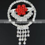 Beautiful White And Red Round Diamonte Brooches For Wedding Dress J032892F10