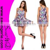 Sexy Sleeves Printed Fashion Dress LY016