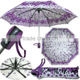 2015 good quality foldable printed umbrella,auto open and close umbrella,3 section Umbrella