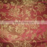 Polyester jacquard fabric for window curtain table cloth and banquet table napkin burgundy gold