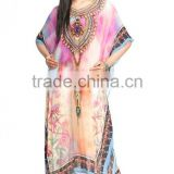 Indian Girls Kaftan Sexy Wear Poncho Fashionable Caftan Dress Poly Silk Girls Long Kaftan