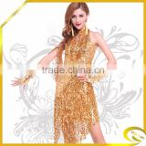 new style sequins tassel latin dance dress/fashion design adult latin dance dress/Wholesale performance dancewear for adult
