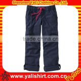 Custom new style comfortable plain solid color cotton casual fashionable kids cargo pants