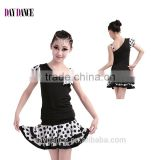 Children Polka Dot Salsa Samba Tango Ballroom Latin Skirts Suit Girls Kids Unequal Dew Shoulder Latin Dance Dress