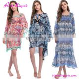 Wholesale Bikini Printed Long Sleeve Cover Up Womens Beach Dress
