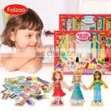 cute princess 63 pcs dress up games for girls cartoon wooden doll toy for girls