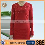 Women wholesale with beading cashmere knit sweater