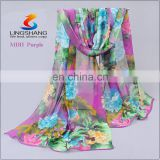 Women Cheap Flowers Chiffon Long Fashion Chiffon shawls Silk Wraps Quatrefoil Scarf Infinity Scarves