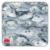 2 hole crystal rhinestone buttons flat back, clear plastic acrylic diamond shape rhinestone buttons