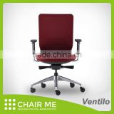 Black Backrest, Red Mesh, Red Seat Office Fabric Chair with Adjustment Armrest and Aluminum Base