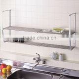 Stainless steel and Stylish kitchen cabinet dish rack with width adjusting function made in Japan