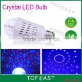 LED Crystal Bulb Rotating LED Strobe Bulb Changing Crystal Stage Lamp Light - Multi Color