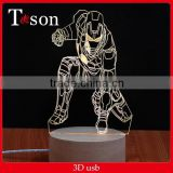 Creative 3d stereo and lamp LED decorative lamp personality Iron man skull romantic friends gifts 3d light