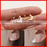 2015 high quality 925 sterling silver plain light weight silver anchor sail stud earring