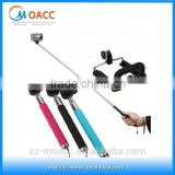 Hand held travel selfie stick with bluetooth remote shutter
