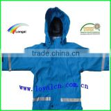 waterproof raincoat good quality blue jacket pu for boys