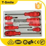 Red plastic handle 8pcs cross and slotted screwdriver set