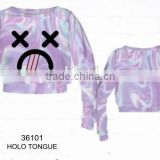 Plain Blank Hoodies Wholesale Crewneck Sweatshirt Custom Couple lovely HOLO TONGUE sweatshirt women