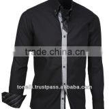 Long Sleeve Pure Cotton Slim Fit Black Oxford Shirts for Men - Free DHL Express Shipping