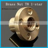 Brass Flange cap Nut Copper for Z axis Lead Screw 8mm 1-Start Screw CNC 3D printer Reprap prusa i3 DIY kit 3dprinter accessory