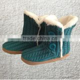 New winter knitted fur lined decorative button ladies boots